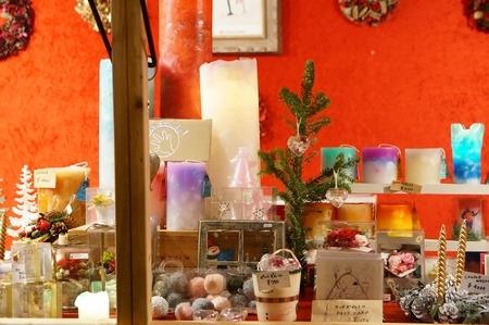 クリスマスマーケットのキャンドルの出店