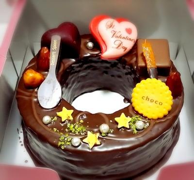バレンタインデーに頂いたチョコレートケーキ