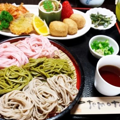 静岡茶を練り込んだ茶そばメインのお昼ご飯
