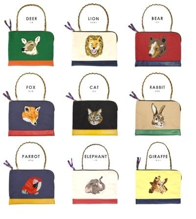 動物刺繍クラッチバッグの種類