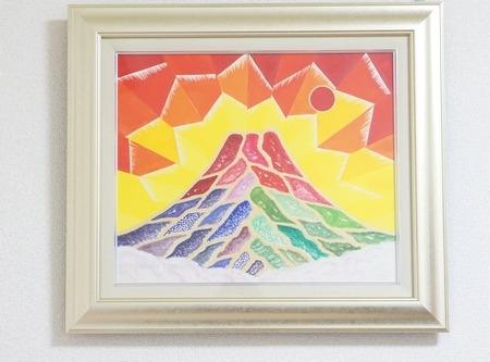 自然光で見た富士山の絵