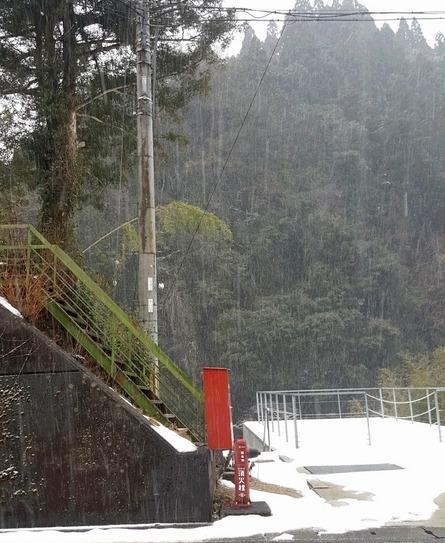 参拝後に降り出した雪