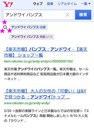 アンドワイパンプスの検索画面