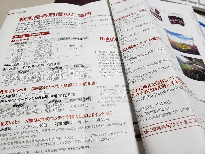 楽天株式会社の2019年株主優待