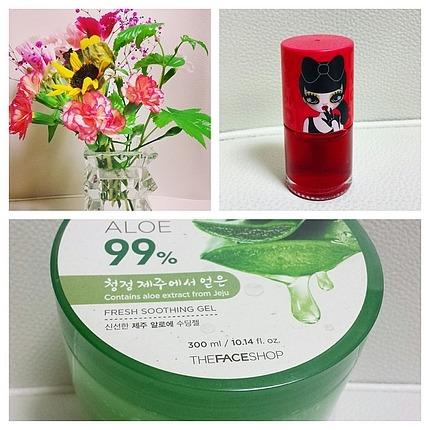 お花と頂いた韓国お土産
